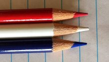 Red, white, blue pencils