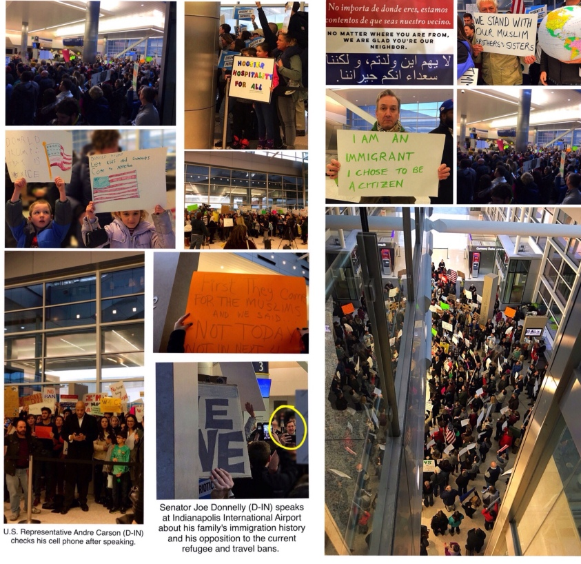 Protest Indianapolis International Airport January 2017 (Attached Collage)