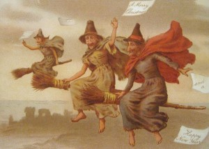 Victorian Christmas Card with witches